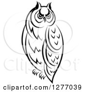 Clipart Of A Black And White Resting Owl 4 Royalty Free Vector Illustration