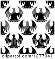 Clipart Of A Seamless Patterned Background Of Black Eagles On White Royalty Free Vector Illustration