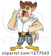 Clipart Of A Cowboy Rooster Crowing Royalty Free Vector Illustration