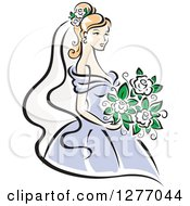 Clipart Of A Blond Bride In A Periwinkle Dress With White Flowers Royalty Free Vector Illustration