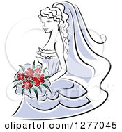 Clipart Of A Black And White Bride In A Periwinkle Dress With Red Flowers Royalty Free Vector Illustration