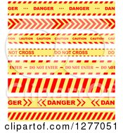 Clipart Of Red And Yellow Caution Tapes 2 Royalty Free Vector Illustration