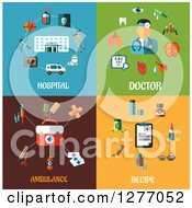 Clipart Of Hospital Doctor Ambulance And Recipe Designs Royalty Free Vector Illustration