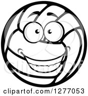 Clipart Of A Grinning Happy Volleyball Character Royalty Free Vector Illustration