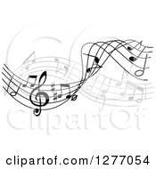 Clipart Of A Grayscale Flowing Music Note Wave Design 3 Royalty Free Vector Illustration