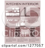 Clipart Of A Pink Toned Kitchen Interior With Text 2 Royalty Free Vector Illustration