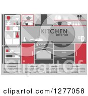 Clipart Of A Red And Gray Kitchen Interior With Text 2 Royalty Free Vector Illustration
