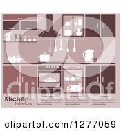 Clipart Of A Pink Toned Kitchen Interior With Text Royalty Free Vector Illustration