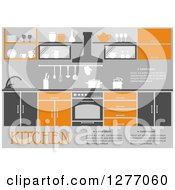 Clipart Of An Orange And Gray Kitchen Interior With Text Royalty Free Vector Illustration