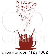 Clipart Of A Brown Silhouetted Cup Of Musical Instruments And Notes 2 Royalty Free Vector Illustration by Vector Tradition SM