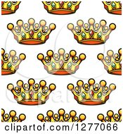 Clipart Of A Seamless Patterned Background Of Gold Crowns Royalty Free Vector Illustration