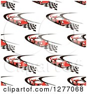 Clipart Of A Seamless Patterned Background Of Red Race Cars On Checkered Roads Royalty Free Vector Illustration by Vector Tradition SM