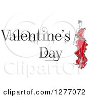 Clipart Of A Woman In A Red Dress And Valentines Day Text Royalty Free Vector Illustration