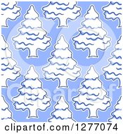 Clipart Of A Seamless Patterned Background Of Flocked Evergreen Trees On Blue Royalty Free Vector Illustration