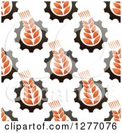 Clipart Of A Seamless Patterned Background Of Wheat And Gears Royalty Free Vector Illustration