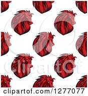 Clipart Of A Seamless Patterned Background Of Angry Red Horse Heads Royalty Free Vector Illustration