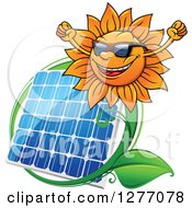 Clipart Of A Cheering Sun And Solar Panel Encircled With A Swoosh And Green Leaves Royalty Free Vector Illustration