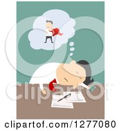 Clipart Of A Businessman Dreaming Of Being A Super Hero At His Desk Royalty Free Vector Illustration by Vector Tradition SM
