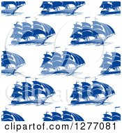 Clipart Of A Seamless Patterned Background Of Blue Ships Royalty Free Vector Illustration