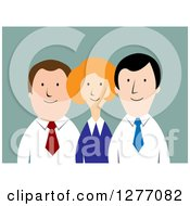 Clipart Of A Happy Business Team Over Blue Royalty Free Vector Illustration by Vector Tradition SM