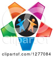 Clipart Of A Cheering Or Dancing Blue And Orange Couple In A Colorful Star Royalty Free Vector Illustration