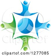 Clipart Of A Blue Circle With People Dancing Or Jumping Around It Royalty Free Vector Illustration by Lal Perera