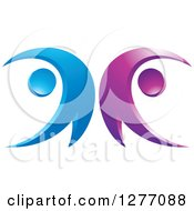Clipart Of A Blue And Purple Happy Couple Dancing 2 Royalty Free Vector Illustration