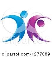 Clipart Of A Blue And Purple Happy Couple Dancing Royalty Free Vector Illustration