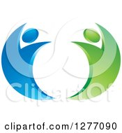 Clipart Of A Blue And Green Happy Couple Dancing Royalty Free Vector Illustration