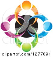 Clipart Of A Colorful People Over A Black Circle Teamwork Icon Royalty Free Vector Illustration by Lal Perera