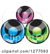Clipart Of A Black And Colorful People Teamwork Icon Royalty Free Vector Illustration