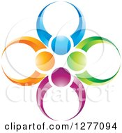 Clipart Of A Colorful People Teamwork Icon Royalty Free Vector Illustration by Lal Perera