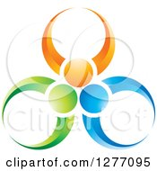 Clipart Of A Green Orange And Blue People Teamwork Icon Royalty Free Vector Illustration by Lal Perera