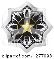 Clipart Of A Silver Black And Gold Icon With Kissing People Around A Star Royalty Free Vector Illustration