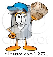 Clipart Picture Of A Garbage Can Mascot Cartoon Character Catching A Baseball With A Glove