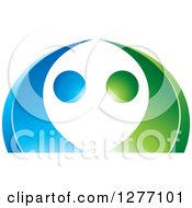 Clipart Of A Blue And Green Abstract Ecology Logo 6 Royalty Free Vector Illustration