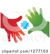 Clipart Of Red And Green Childrens Hands And A Blue Cross Royalty Free Vector Illustration