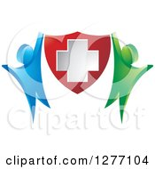Clipart Of A Blue And Green People Cheering And Holding Up A Medical Cross Shield Royalty Free Vector Illustration