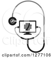 Clipart Of A Black And White Stethoscope Connected To A Screen Royalty Free Vector Illustration by Lal Perera