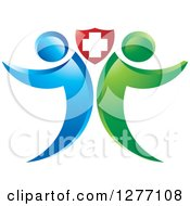 Clipart Of A Blue And Green People Standing Back To Back Under A Medical Cross Shield Royalty Free Vector Illustration by Lal Perera