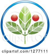 Clipart Of A Blue Circle Around A Green Medical Plant With Red Orbs Royalty Free Vector Illustration