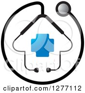 Clipart Of A Stethoscope Encircling A House With A Blue Cross Royalty Free Vector Illustration by Lal Perera #COLLC1277112-0106