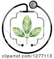 Clipart Of A Stethoscope Encircling And Forming A Cross Around A Plant Royalty Free Vector Illustration