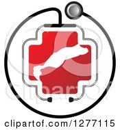 Clipart Of A Stethoscope Encircling A Red Cross And Abstract White Shape Royalty Free Vector Illustration by Lal Perera