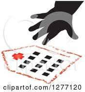 Clipart Of A Black Silhouetted Childs Hand And Drawing Of A Hospital Royalty Free Vector Illustration