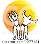 Clipart Of A Black And White Stretching And Flexing Female And Male Bodybuilders Over An Orange Circle Royalty Free Vector Illustration by Lal Perera