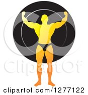 Clipart Of A Gradient Yellow Flexing Male Bodybuilder Over A Black Circle Royalty Free Vector Illustration by Lal Perera