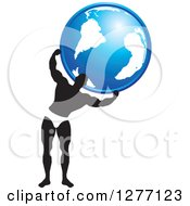 Clipart Of A Black And White Male Bodybuilder Holding Up A Globe Royalty Free Vector Illustration by Lal Perera