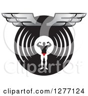 Clipart Of A Flexing Male Bodybuilder Over A Black And Circle With Wings Royalty Free Vector Illustration by Lal Perera
