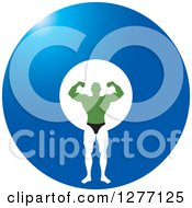 Clipart Of A Flexing Green White And Black Male Bodybuilder Over A Blue Circle Royalty Free Vector Illustration by Lal Perera
